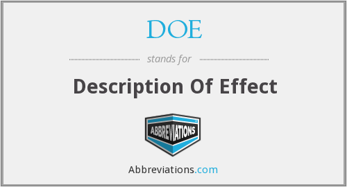 DOE - Description Of Effect