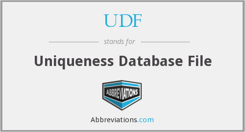 UDF - Uniqueness Database File