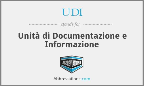 UDI - Unità di Documentazione e Informazione