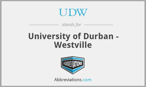 UDW - University of Durban - Westville