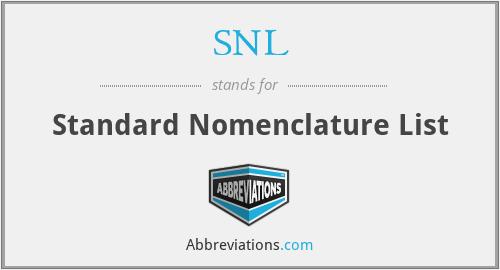 SNL - Standard Nomenclature List