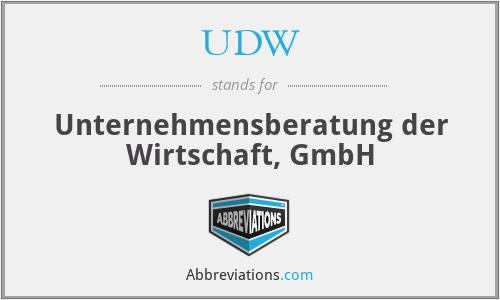 UDW - Unternehmensberatung der Wirtschaft, GmbH