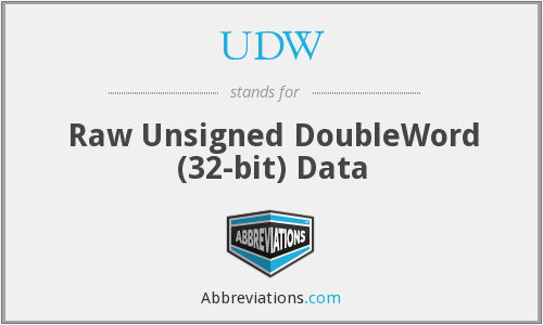 UDW - Raw Unsigned DoubleWord (32-bit) Data