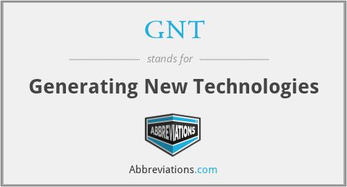 GNT - Generating New Technologies