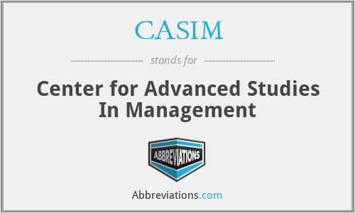 CASIM - Center for Advanced Studies In Management