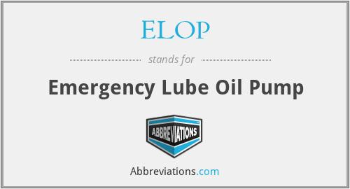 ELOP - Emergency Lube Oil Pump