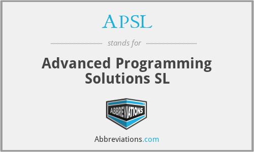 APSL - Advanced Programming Solutions SL