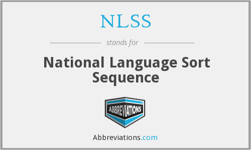 NLSS - National Language Sort Sequence