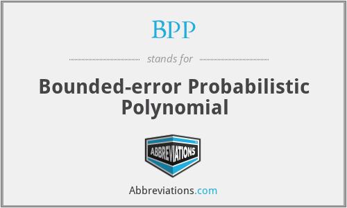 BPP - Bounded-error Probabilistic Polynomial