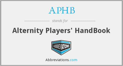 APHB - Alternity Players' HandBook
