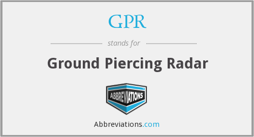 GPR - Ground Piercing Radar