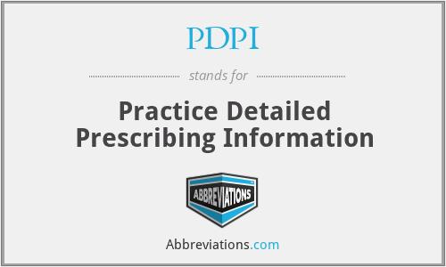 PDPI - Practice Detailed Prescribing Information