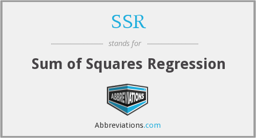 SSR - Sum of Squares Regression