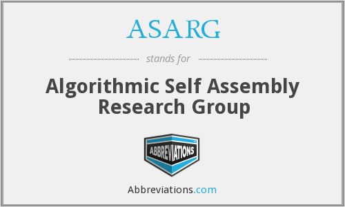 ASARG - Algorithmic Self Assembly Research Group