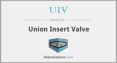 UIV - Union Insert Valve