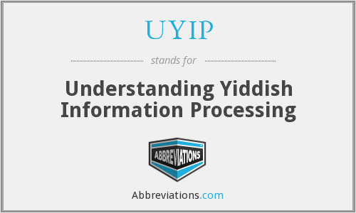 UYIP - Understanding Yiddish Information Processing