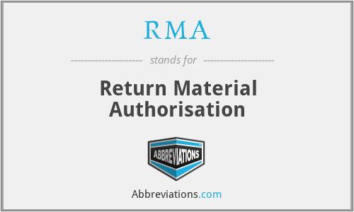 RMA - Return Material Authorisation