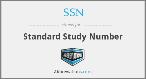 SSN - Standard Study Number