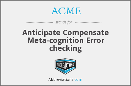 ACME - Anticipate Compensate Meta-cognition Error checking
