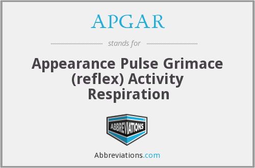 APGAR - Appearance Pulse Grimace (reflex) Activity Respiration