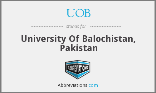 UOB - University Of Balochistan, Pakistan