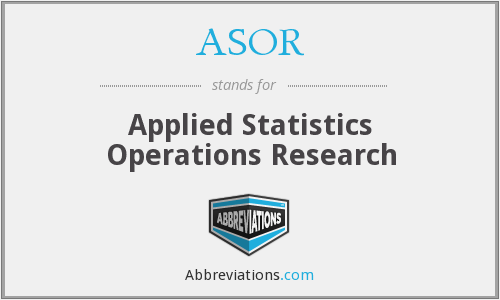 ASOR - Applied Statistics Operations Research