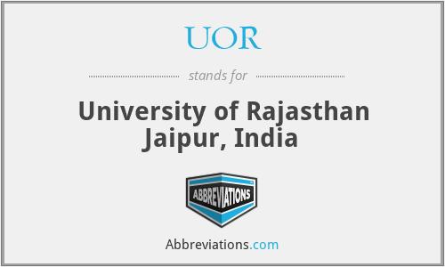 UOR - University of Rajasthan Jaipur, India