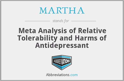 MARTHA - Meta Analysis of Relative Tolerability and Harms of Antidepressant