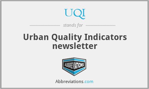 UQI - Urban Quality Indicators newsletter