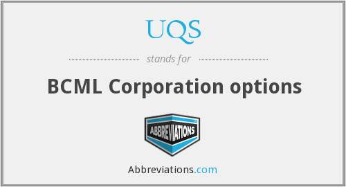UQS - BCML Corporation options