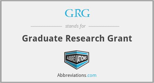 GRG - Graduate Research Grant