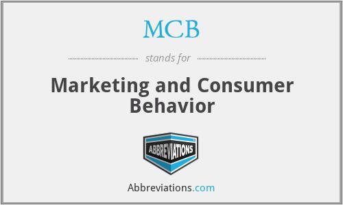 MCB - Marketing and Consumer Behavior