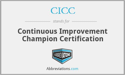 CICC - Continuous Improvement Champion Certification