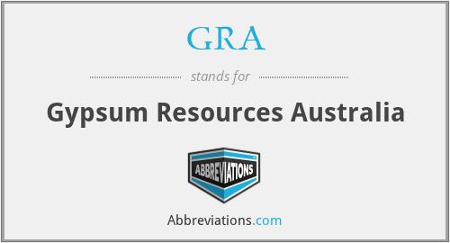 GRA - Gypsum Resources Australia