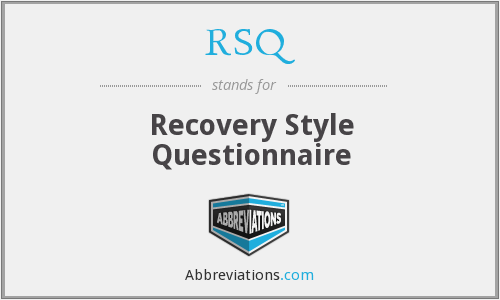 RSQ - Recovery Style Questionnaire