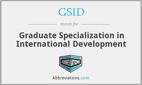 GSID - Graduate Specialization in International Development