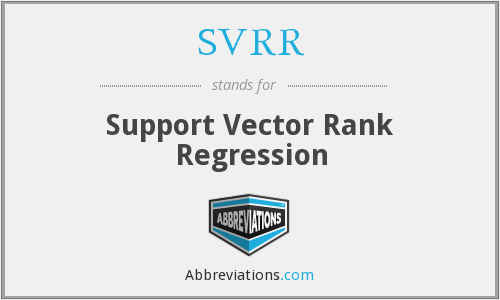 SVRR - Support Vector Rank Regression