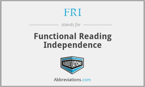 FRI - Functional Reading Independence