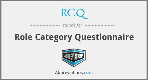 RCQ - Role Category Questionnaire