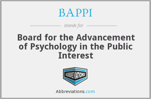 BAPPI - Board for the Advancement of Psychology in the Public Interest
