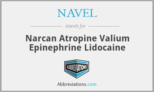 NAVEL - Narcan Atropine Valium Epinephrine Lidocaine