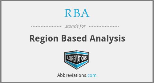 RBA - Region Based Analysis