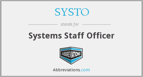 SYSTO - Systems Staff Officer