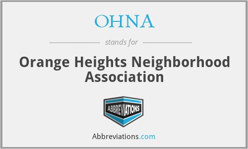 OHNA - Orange Heights Neighborhood Association