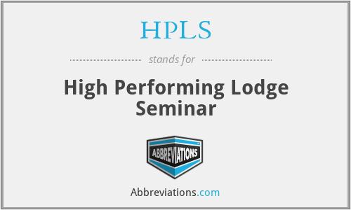 HPLS - High Performing Lodge Seminar