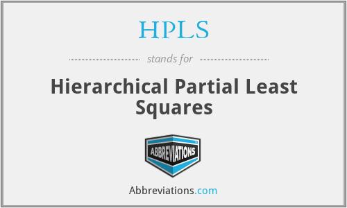 HPLS - Hierarchical Partial Least Squares