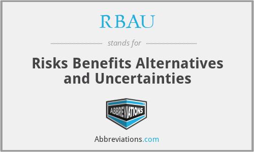 RBAU - Risks Benefits Alternatives and Uncertainties
