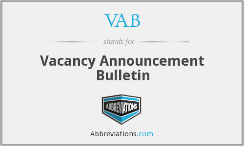 VAB - Vacancy Announcement Bulletin