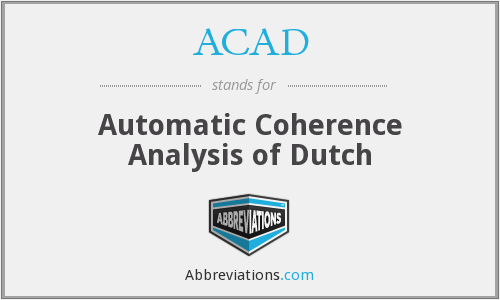 ACAD - Automatic Coherence Analysis of Dutch