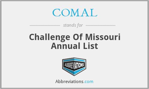 COMAL - Challenge Of Missouri Annual List